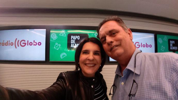 Eduardo Moreno e a apresentadora Vanessa Roche do programa PAPO DE ALMOÇO das quinta feiras